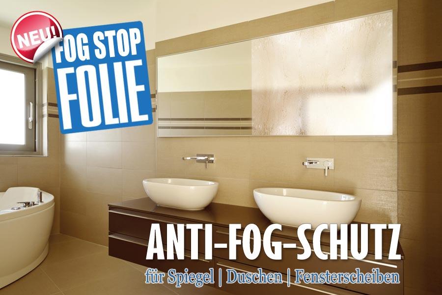 fog stop folie auf badezimmerfenster