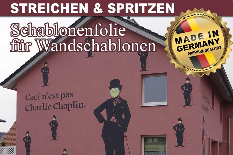 Bemalte Hauswand mit Charlie Chaplin