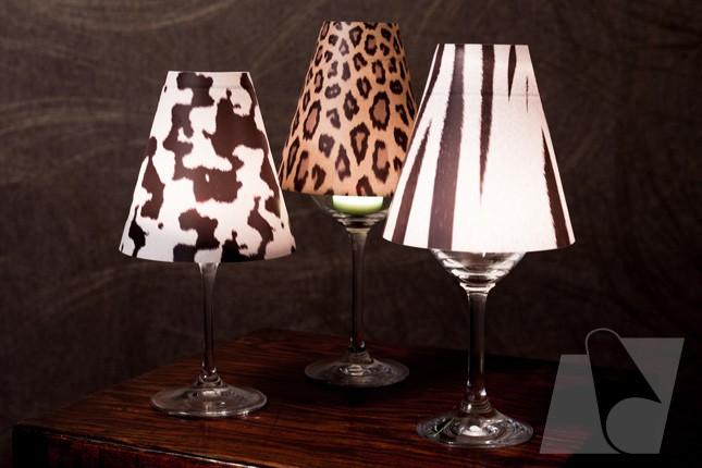 Mini-Lampenschirme für Weingläser in Tierfelloptik