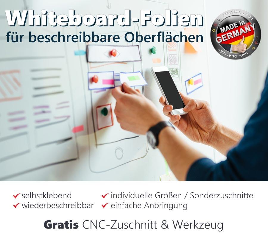weiße whiteboardfolie auf wand mit beschriftung und angehafteten Magneten