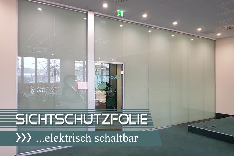 Elektrische Sichtschutzfolie auf Glastrennwand im Konferenzraum