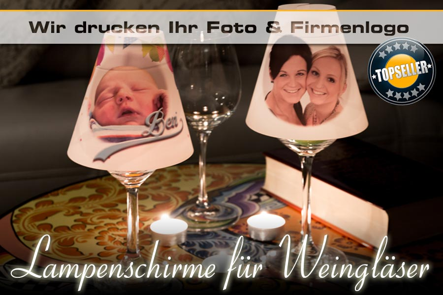 Bedruckte mini lampenschirme f r weinglas deko ifoha for Wandfolie transparent
