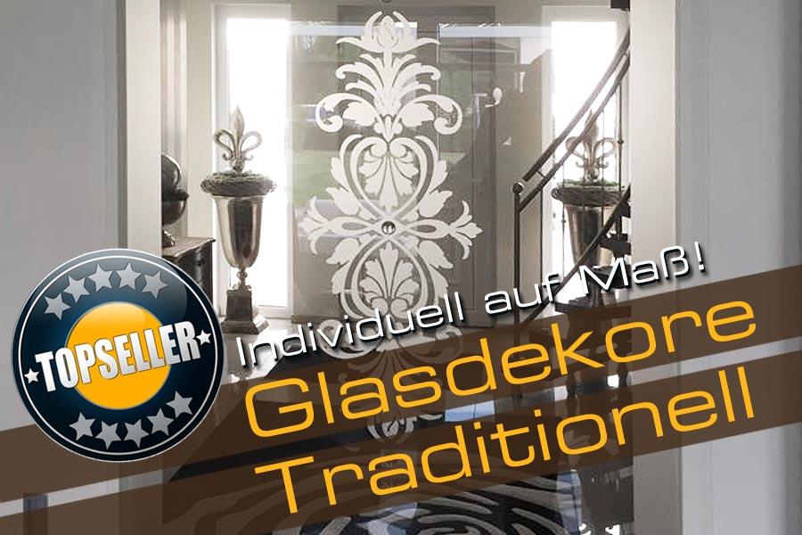 Glastür mit traditionellem Glasdekor in satinierter Optik