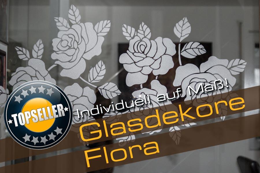 Florales Glasdekor in Rosenoptik auf einer Glasscheibe