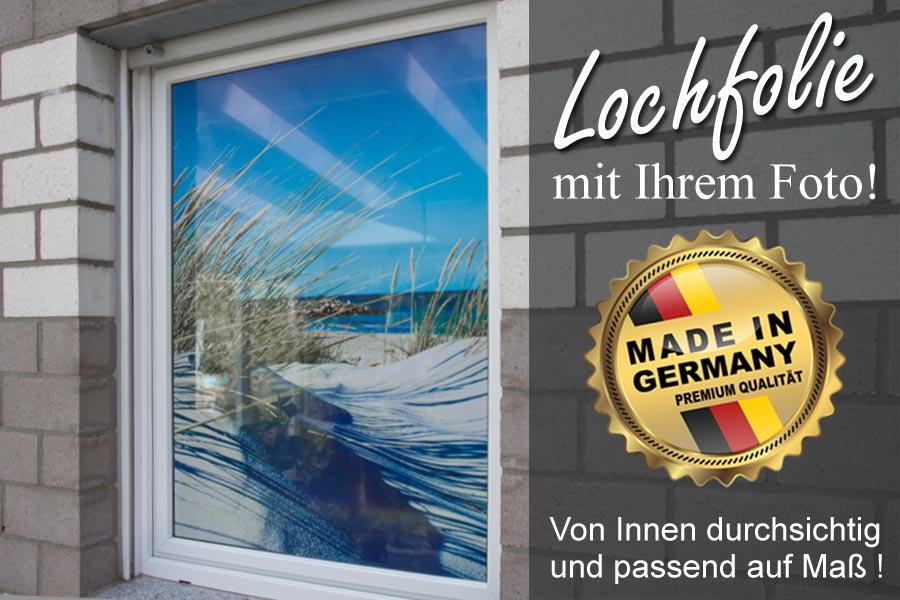 esszimmerfenster mit bedruckter Sichtschutz Lochfolie Motiv dünenstrand
