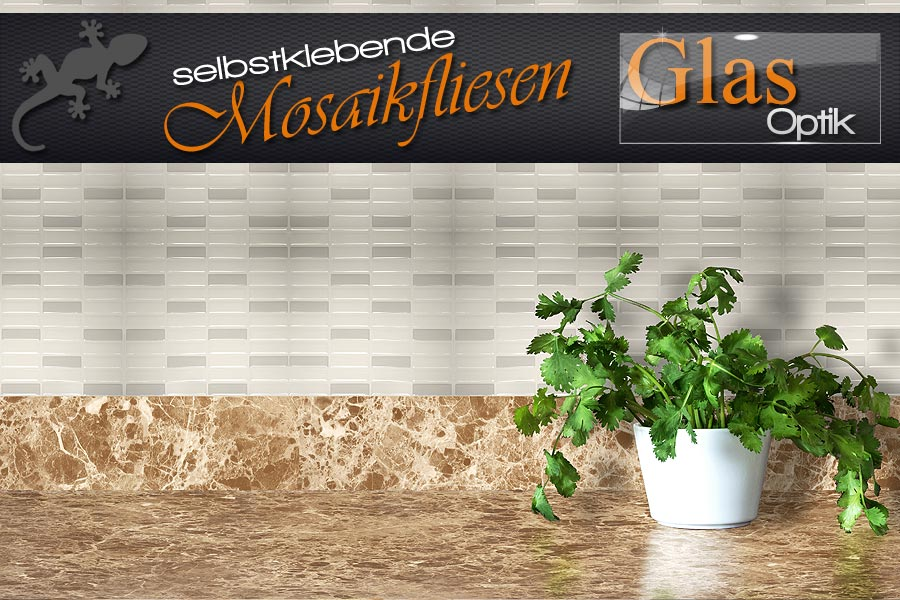 mosaik fliesen selbstklebend in dreidimensionaler glas optik ifoha. Black Bedroom Furniture Sets. Home Design Ideas