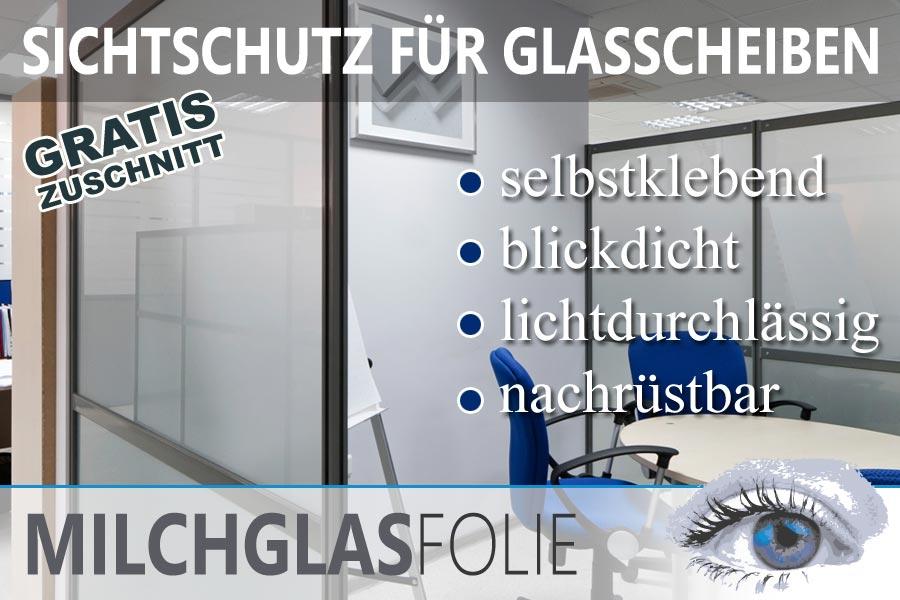 trennwand aus Glas mit Milchglasfolie in einem Großraumbüro