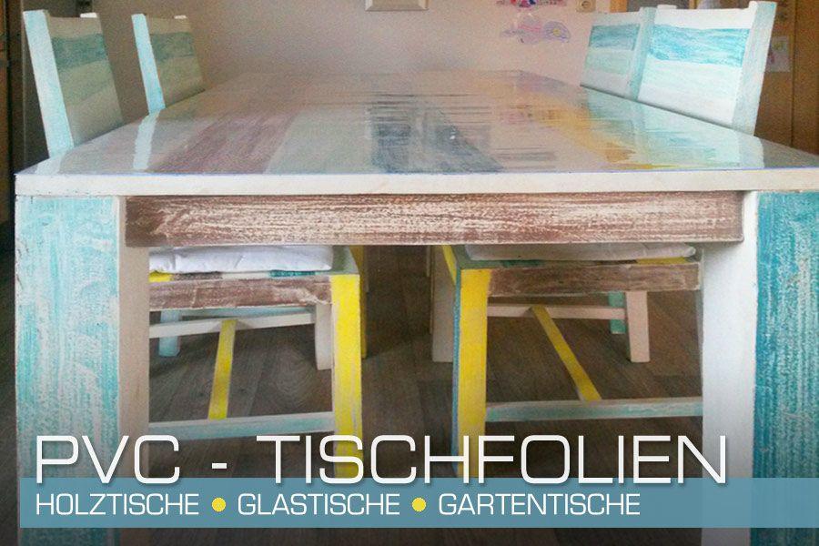 PVC Tischfolie auf Holztisch in Vintage Optik